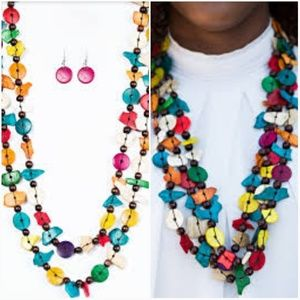 LIVING THE TROPICAL LIFE MULTI-NECKLACE/EARRING SE